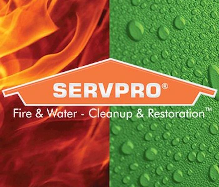 graphic showing fire and water with SERVPRO logo superimposed over