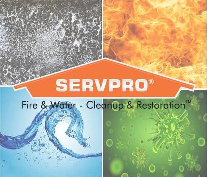quadrant graphic with fire, water, mold, and biohazard square with SERVPRO logo in center