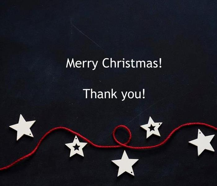 "Graphic saying ""Merry Christmas and Thank You!"""