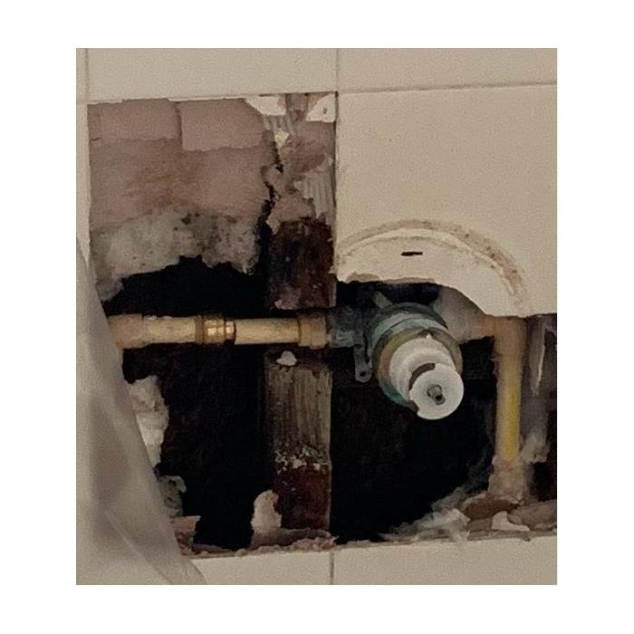 water damage in behind shower wall in bathroom of Jacksonville home