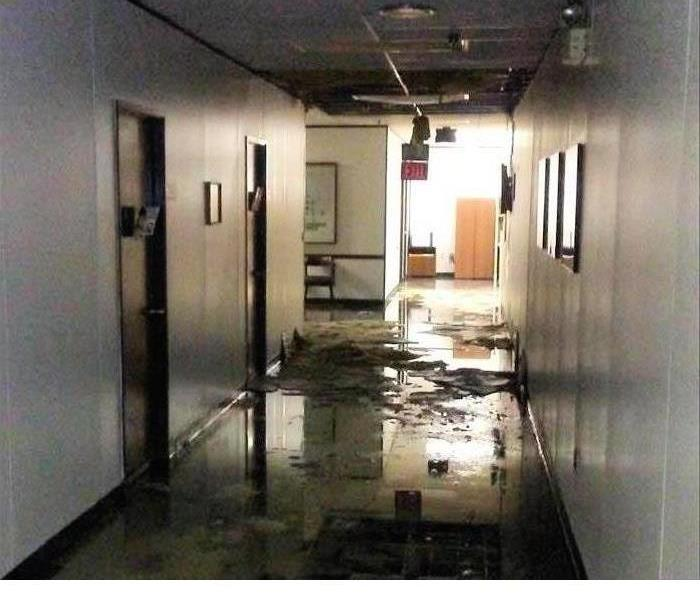 Commercial Water Main Floods Power Plant Offices in North Jacksonville