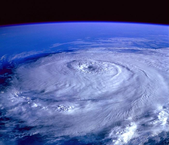 Aerial photograph of an Atlantic hurricane.