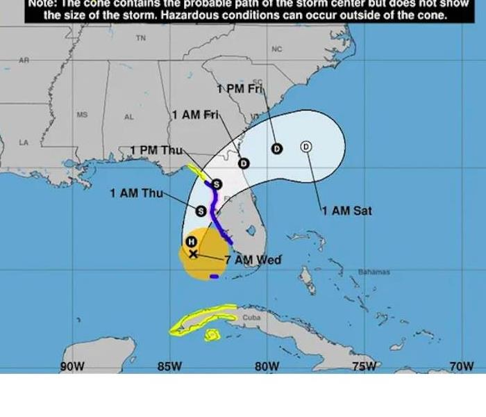 map showing the projected path of Hurricane Eta as is extends to North Florida and South Georgia