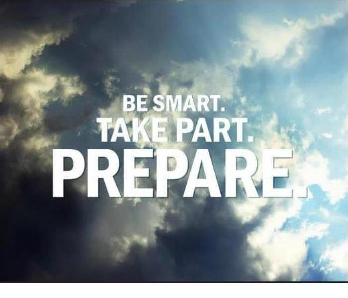 "graphic with cloud background and the text ""Be Smart. Prepare."""
